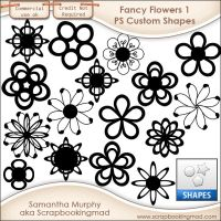 Fancy Flowers 1 Photoshop Custom Shapes .CSH by scrapbookingmad