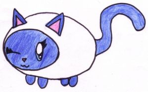 Blue and White Cat by RaspberryFanta