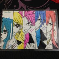 Natsu, Erza, Gray, Lucy and Wendy~ by Goharn