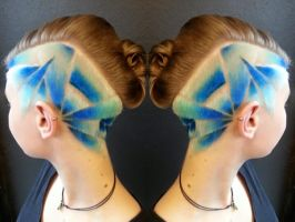 Blue fade hairtattoo by AngeLee-Loo
