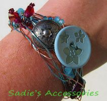 Blue Spring Wire-Wrap Bangle Bracelet by SadiesAccessories