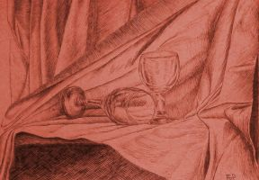 Drawing - Two Glasses Of Wine by eduaarti