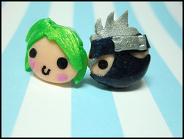 Kakashi+OC Stud Earrings by GrandmaThunderpants