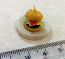 Miniature Cheese Burger by KrystalsTinyCakery