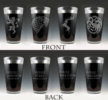 Game of Thrones House Pint Glass Set by Yukizeal