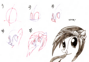 Pony Tutorial 1: MLP style Grinning - 3/4 view by BurgerDragon