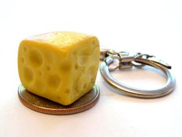 Swiss Cheese Wedge Keychain by right2bearcharms