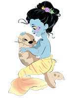 A young mermaid and a baby seal by RenaXbones96