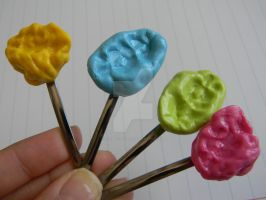 Fake Chewed Bubble Gum Hair Pins-Polymer Clay by ThePetiteShop