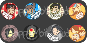 Legend of Korra Button Set by Kootani