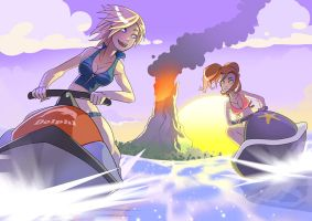 Amy and JoBeth jetski by Drunken-Novice