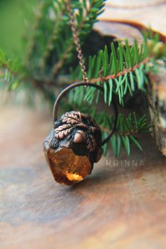 Electroformed pendant Oak Forest with citrine by Krinna