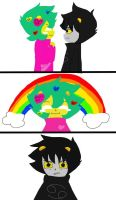 Rainbows while Gazing into each others Eyes by Cheezit1x1