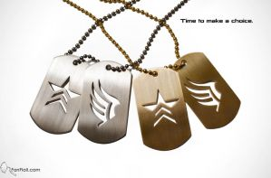 Mass Effect custom dogtags - Paragon and Renegade by FanFlail