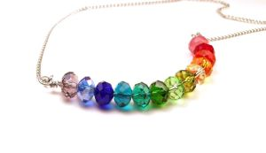 Rainbow Rondelle Necklace Glass Beads by annjepsen