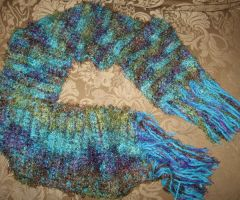 multi blue green scarf by peaceocake