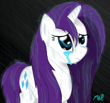 Rarity standing in the rain... by MLOpl