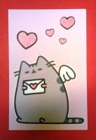 Pusheen Valentine Postcard by Artymesia