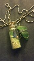 Sea glass and sand vial necklace  by MinniBellSnow