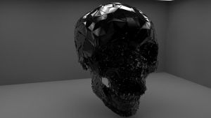 Shattered/Exploded Black 3D Skull by cytherina