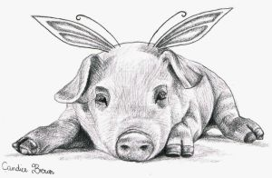 Adorable Fairy Piggy I by VioletDolphin