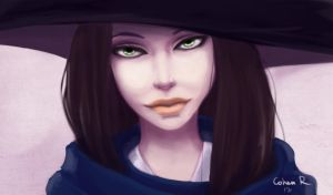 lady with a huge hat by CohenR