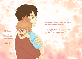 Nico and Luka(age 3). Mr. Bunny is ill. part 2 by Aritsune-chan