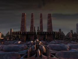 Factory chimneys by kronpano
