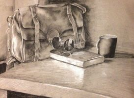 Charcoal still life of stuff I bought online by Carlalikesart