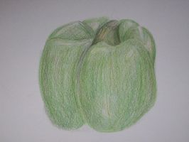 Green Pepper: Colored pencil contour by anime-art-girl