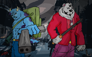 The Shooter and The SwordBear by AniLover16