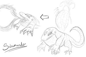 Crane Hollow Monsters: Salamander Concept Sketch by MinionKing