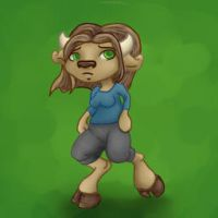 Sad Chibi Anthro Cow by Silly-Lady