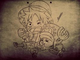 Luffy and Chopper by Draw-With-Mira-chan