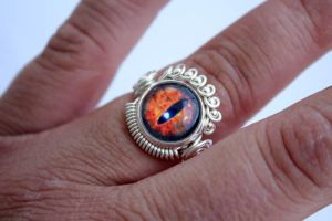 Steampunk Wire Wrap Evil Sauron Eye Ring by Create-A-Pendant