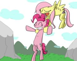 Flying Pinkie and singing fluttershy by asph4k