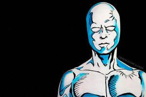 Closeup Silver Surfer Body Paint by CrisAlexMUA