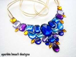 Blue and Gold Gem Necklace by Natalie526