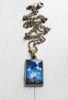 Handmade Resin Blue Galaxy Bronze Necklace by crystaland
