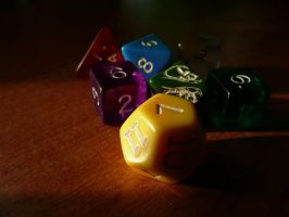 Colourful dice by Silthria