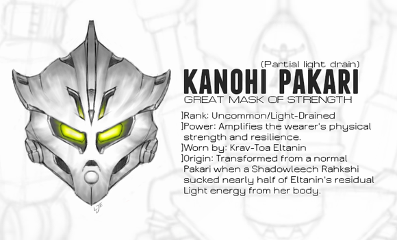 Kanohi Pakari, Mask of Strength (Light-Drained) by Llortor