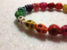 Multi color/ Rainbow Skull Bracelet by AestheticSaturn