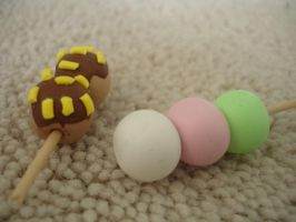Polymer Clay Kawaii Dango and Takoyaki Charms by PiinkKittyy