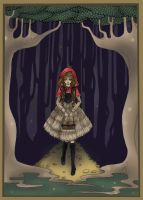 red riding hood in the woods by DarkDevi
