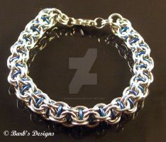 Blue AA And BA Chainmaille Bracelet by Barbsdesigns