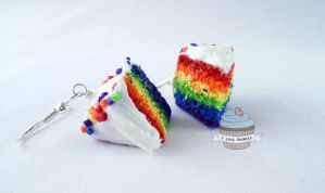 Custom order- Rainbow cake earrings by ilikeshiniesfakery