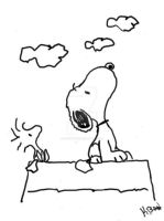 snoopy and woodstock by oozsinfered