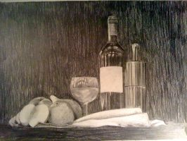 Graphite Still Life - Fruits and Wine by DrAspeL