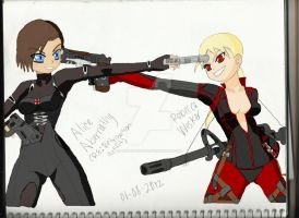Alice Abernathy VS Wesker's Daughter by adragonkiss