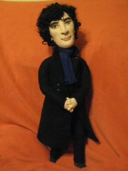 My Needle Felted Doll -- Benedict as Sherlock by CatsFeltLings